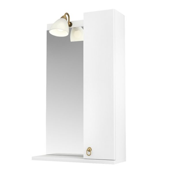 Зеркало 55 Реймс подсветка, полка,  шкаф правый