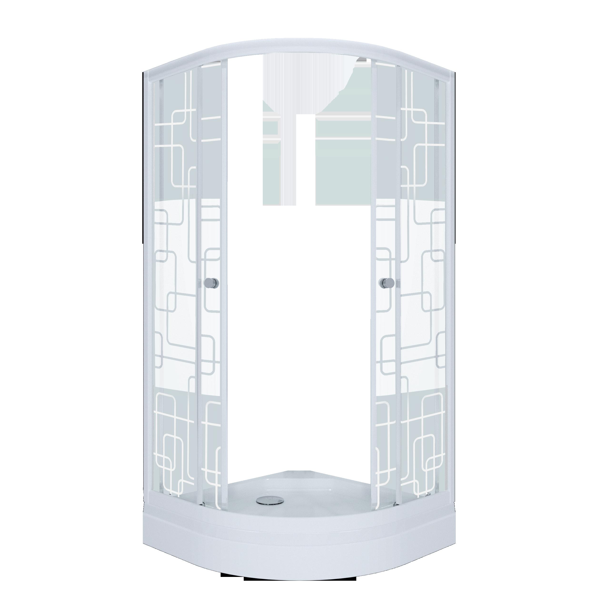 Душевое ограждение Стандарт 100*100 А Квадраты, полукруг, низкий поддон