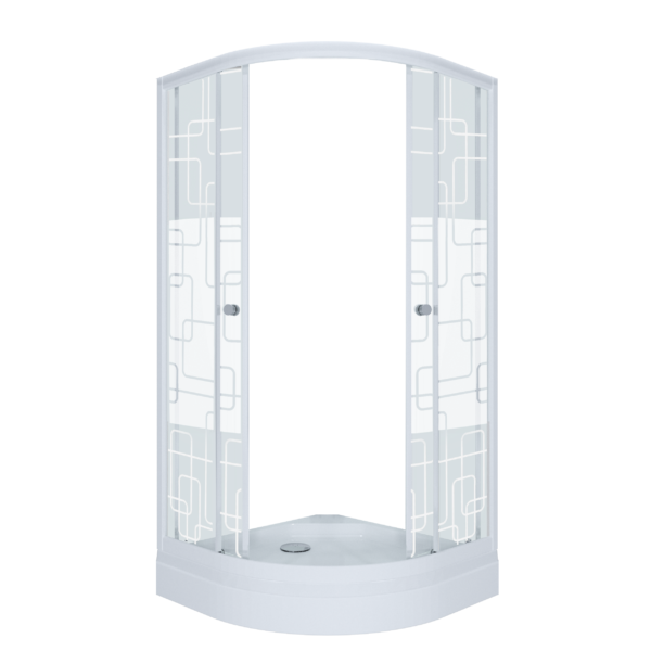 Душевое ограждение Стандарт 90*90 А Квадраты, полукруг, низкий поддон